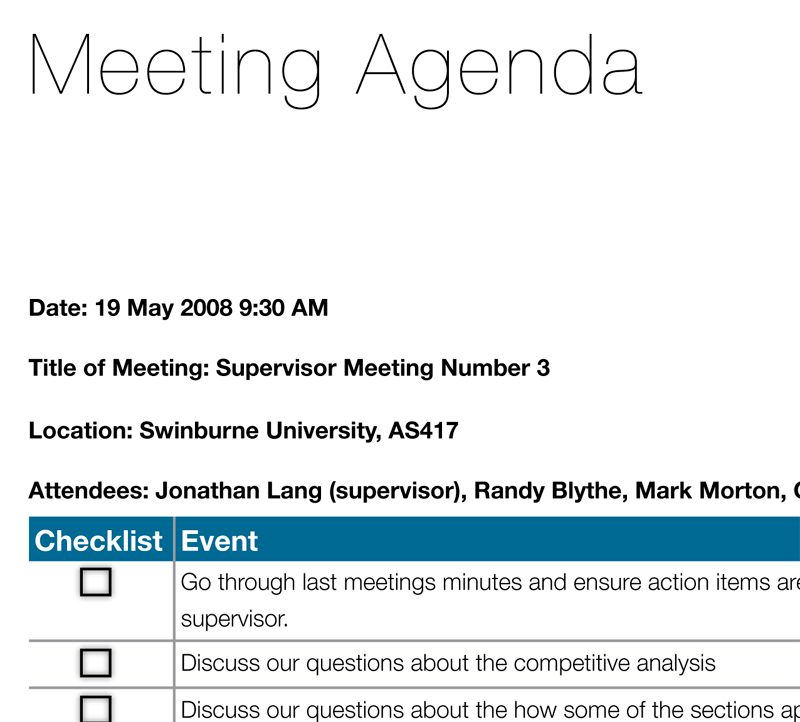 "A quick guide to creating a ""Meeting Agenda"" document"
