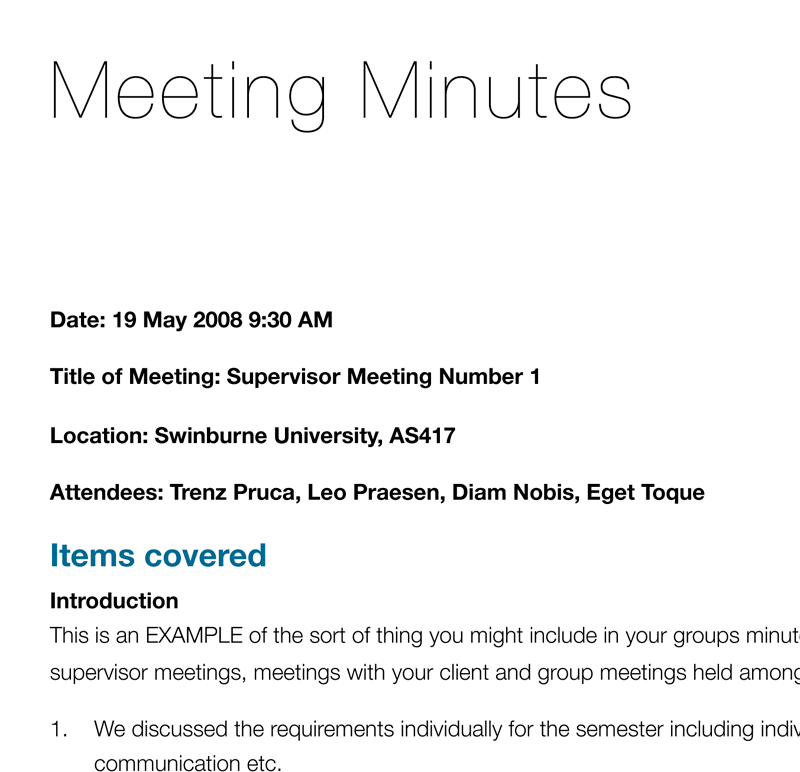 "A quick guide to creating a ""Meeting Minutes"" document"