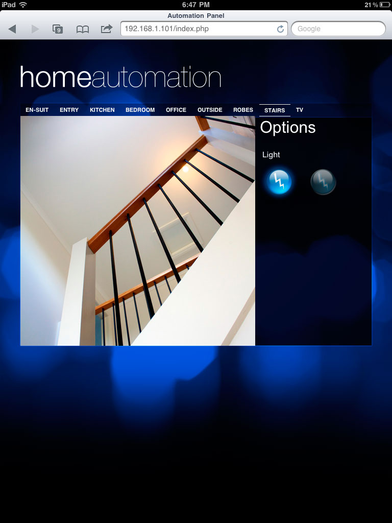 Creating a webpage for iPad control of an x10 home automation setup