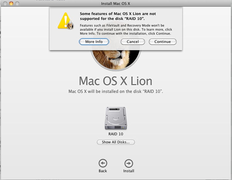 Mac OS X Lion on a RAID volume